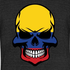 Colombian Flag Skull Cool Colombia Skull - Unisex Tri-Blend T-Shirt by American Apparel