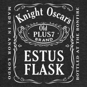 Knight Oscar's Estus Flask Label Design - Unisex Tri-Blend T-Shirt by American Apparel