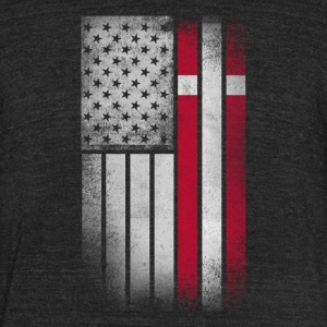 Danish American Flag - Half Dane Half American - Unisex Tri-Blend T-Shirt by American Apparel