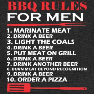 BBQ Rules For Men Drink A Beer Barbecue - Unisex Tri-Blend T-Shirt by American Apparel