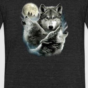 Three Wolf Moon 3 Wolves - Unisex Tri-Blend T-Shirt by American Apparel