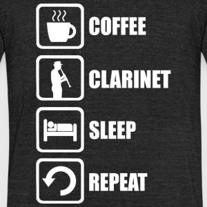 Clarinet - Coffee Clarinet Sleep Repeat Funny - Unisex Tri-Blend T-Shirt by American Apparel