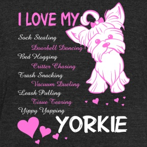 Yorkie - I Love My Yorkie T Shirt - Unisex Tri-Blend T-Shirt by American Apparel