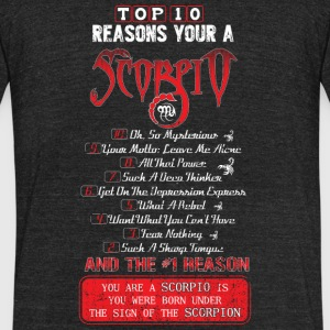 Scorpio - Top 10 reasons you're a Scorpio - Unisex Tri-Blend T-Shirt by American Apparel