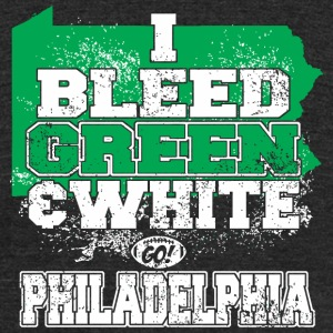 Philadelphia - i bleed green and white go philad - Unisex Tri-Blend T-Shirt by American Apparel