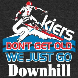 Skier - Skiers Don't Get Old We Just Go Downhill - Unisex Tri-Blend T-Shirt by American Apparel
