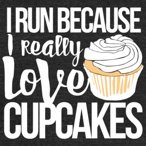 Cupcake - I run - Unisex Tri-Blend T-Shirt by American Apparel