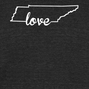 Tennessee Love State Outline - Unisex Tri-Blend T-Shirt by American Apparel