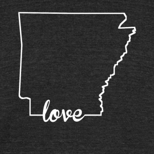 Arkansas Love State Outline - Unisex Tri-Blend T-Shirt by American Apparel