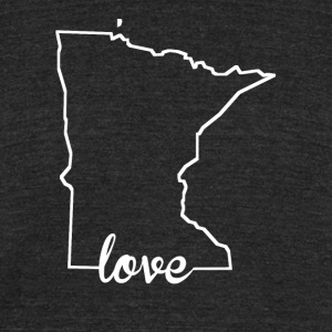 Minnesota Love State Outline - Unisex Tri-Blend T-Shirt by American Apparel