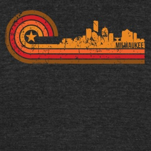 Retro Style Milwaukee Wisconsin Skyline - Unisex Tri-Blend T-Shirt by American Apparel