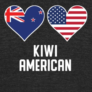 Kiwi American Heart Flags - Unisex Tri-Blend T-Shirt by American Apparel
