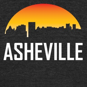 Asheville North Carolina Sunset Skyline - Unisex Tri-Blend T-Shirt by American Apparel