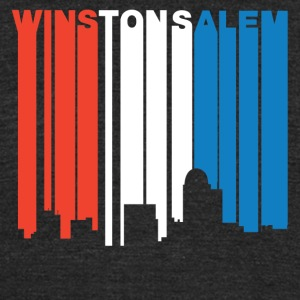 Red White And Blue Winston-Salem NC Skyline - Unisex Tri-Blend T-Shirt by American Apparel