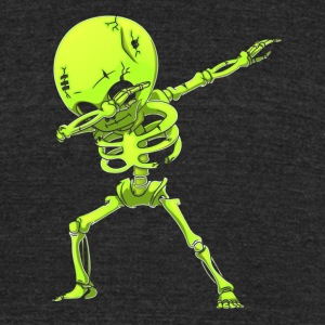 Dabbing Skeleton Halloween Neon Green Dab Dance - Unisex Tri-Blend T-Shirt by American Apparel