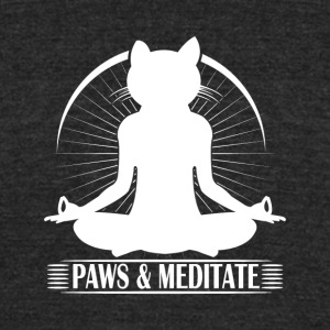 Kitty Meditation - Paws and Meditate - Unisex Tri-Blend T-Shirt by American Apparel