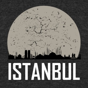 Istanbul Full Moon Skyline - Unisex Tri-Blend T-Shirt by American Apparel