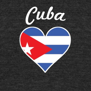 Cuba Flag Heart - Unisex Tri-Blend T-Shirt by American Apparel