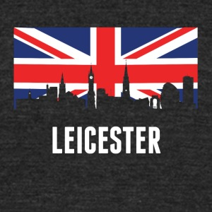 British Flag Leicester Skyline - Unisex Tri-Blend T-Shirt by American Apparel
