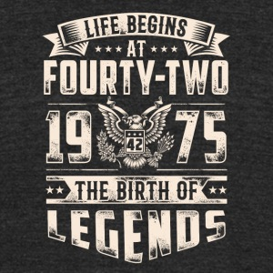 Life Begins at Fourty-Two Legends 1975 for 2017 - Unisex Tri-Blend T-Shirt by American Apparel