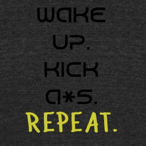 Wake Up and Kick A*s! - Unisex Tri-Blend T-Shirt by American Apparel