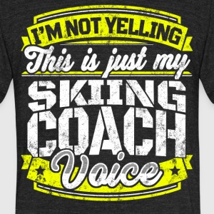 Funny Skiing coach: My Skiing Coach Voice - Unisex Tri-Blend T-Shirt by American Apparel