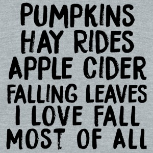 Pumpkin - I Love Fall Most of All - Unisex Tri-Blend T-Shirt by American Apparel