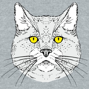 Cat_head_with_yellow_eyes - Unisex Tri-Blend T-Shirt by American Apparel