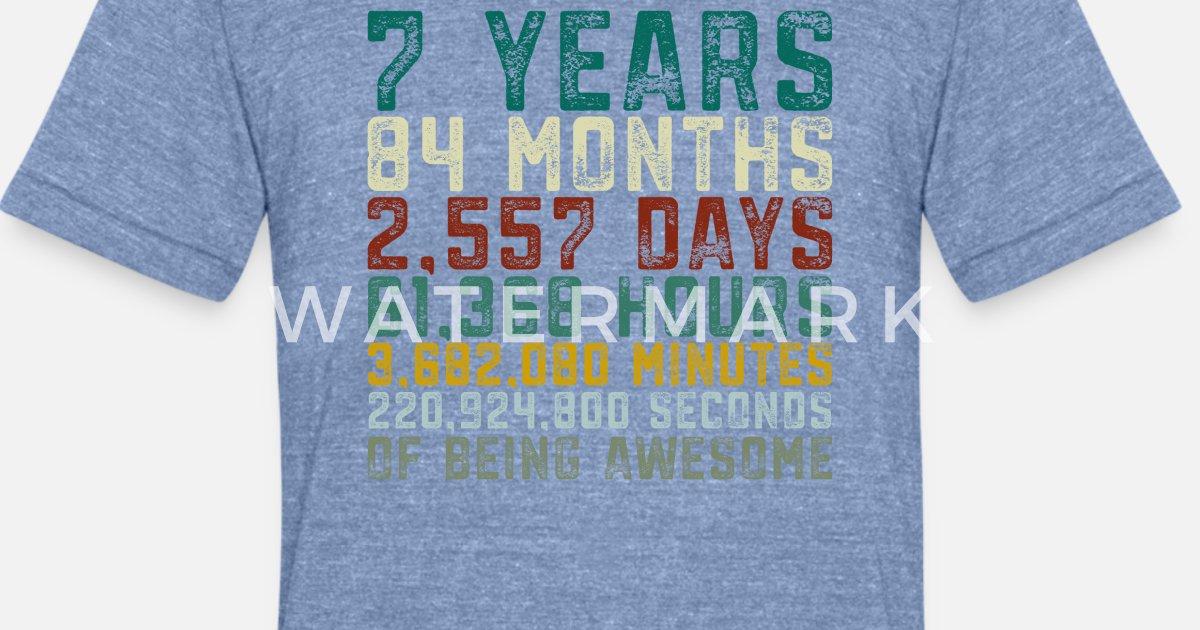 Unisex Tri Blend T Shirt7 Years Old 7th Birthday Boy Girl Anniversary