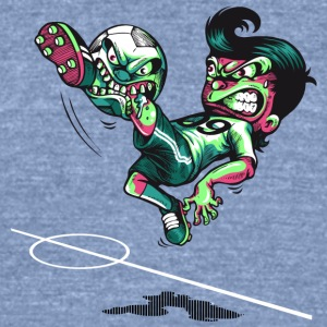 soccer ball biting soccer players leg - Unisex Tri-Blend T-Shirt by American Apparel