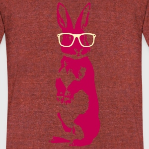 Rabbit with glasses - Unisex Tri-Blend T-Shirt by American Apparel