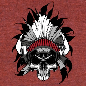 Indian Skull Head - Unisex Tri-Blend T-Shirt by American Apparel