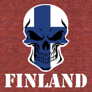Finnish Flag Skull Finland - Unisex Tri-Blend T-Shirt by American Apparel