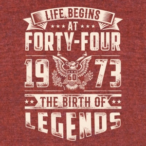 Life Begins At Forty Four Tshirt - Unisex Tri-Blend T-Shirt by American Apparel