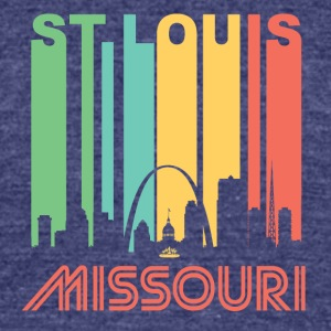 Retro St. Louis Skyline - Unisex Tri-Blend T-Shirt by American Apparel