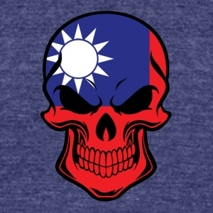 Taiwanese Flag Skull - Unisex Tri-Blend T-Shirt by American Apparel