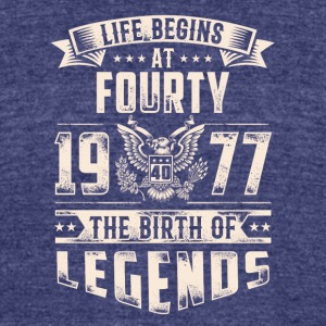 Life Begins at Fourty Legends 1977 for 2017 - Unisex Tri-Blend T-Shirt by American Apparel