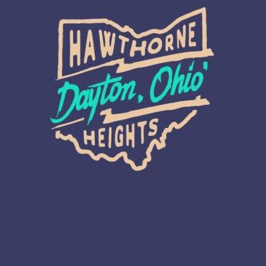 Retro Dayton Ohio Skyline Unisex Tri-Blend T-Shirt - heather gray