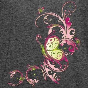 Pink and green flowers with butterfly - Women's Flowy Tank Top by Bella
