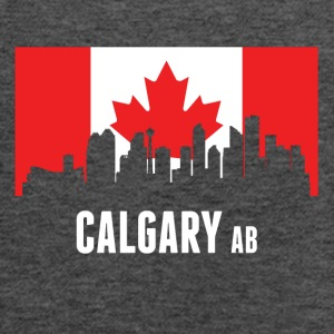 Canadian Flag Calgary Skyline - Women's Flowy Tank Top by Bella