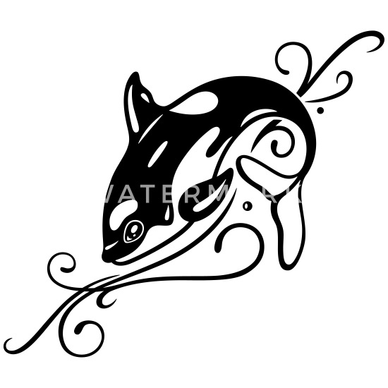a450b13f5 Big Whale (Killer Whale, Orca) with Tribal Ornamen Water Bottle ...