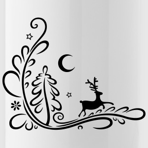 Deer, reindeer, in the forest, silhouette - Water Bottle