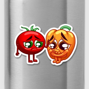 pepper and tomato sad - Water Bottle