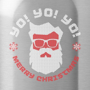 Holiday Ugly Christmas Sweater HIPPIE SANTA CLAUS - Water Bottle