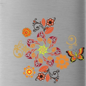 Fantastic floral ornament with decorative butterfl - Water Bottle