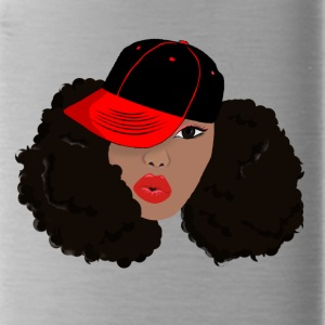 Black Woman With Natural Hair with Hat Afro Puffs - Water Bottle