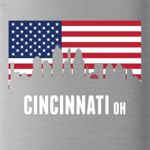 American Flag Cincinnati Skyline - Water Bottle