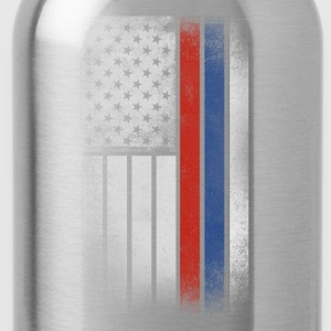 Russian American Flag - Half Russian Half American - Water Bottle