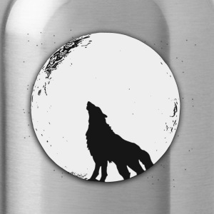The wolf in the full moon design - Water Bottle