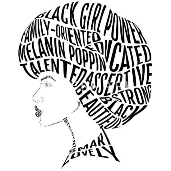 Afro Hair Word Art Design Travel Mug White